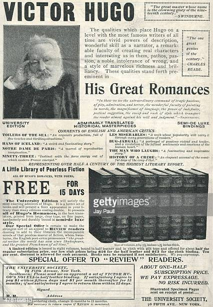 Advertisement for great romance novels by Victor Hugo offered by The University Society New York 1899 A picture of Victor Hugo is included