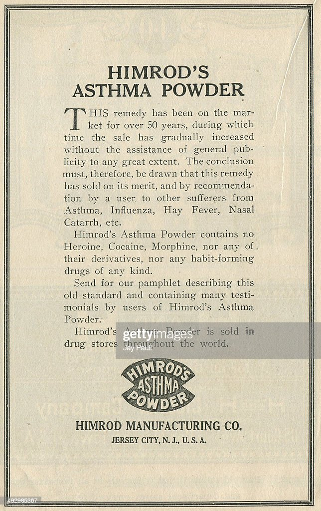 Advertisement for Himrod's Asthma Powder by the Himrod Manufacturing Company in Jersey City New Jersey 1921 The ad notes the product does not contain...