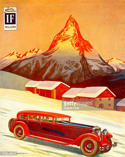 1928 Advertisement for Isotta Fraschini a luxury car manufacturer Luxury car speeds across the snow past the mountains
