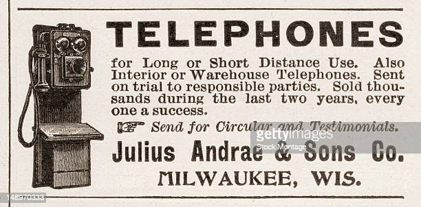 Advertisement for Julius Andrae Sons Co telephones Milwaukee Wisconsin 1896 The text reads in part 'Sold thousands during the last two years every...