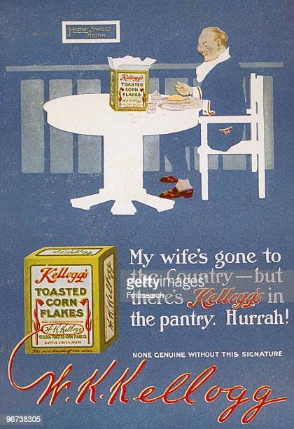 Advertisement for Kellogg's Corn Flakes circa 1920 Illustration of smartly dressed man sitting at table eating bowl of corn flakes and text 'My...