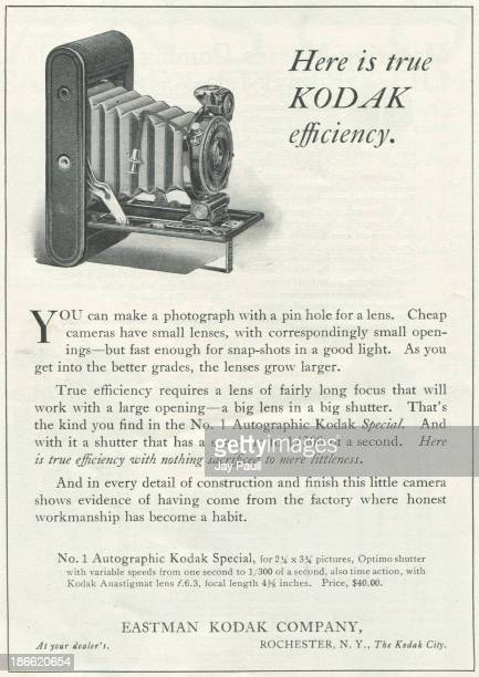 Advertisement for Kodak by the Eastman Kodak Company in Rochester New York 1916 The Number 1 Autographic Special camera is pictured