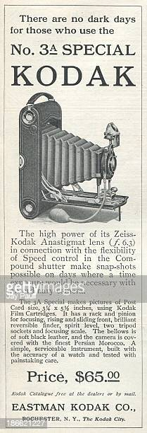 Advertisement for Kodak by the Eastman Kodak Company in Rochester New York 1911 The Number 3A Special camera is pictured
