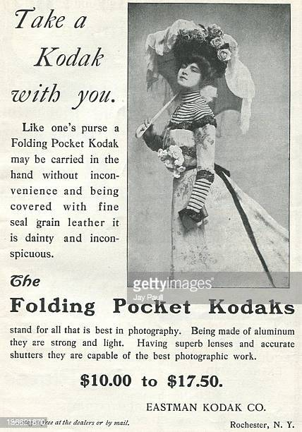 Advertisement for Kodak by the Eastman Kodak Company in Rochester New York 1901 The 'Kodak Girl' is pictured for Folding Pocket cameras