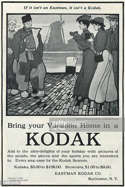 Advertisement for Kodak by the Eastman Kodak Company in Rochester New York 1905 The ad features a drawing by Edward Penfield of the 'Kodak Girls'...