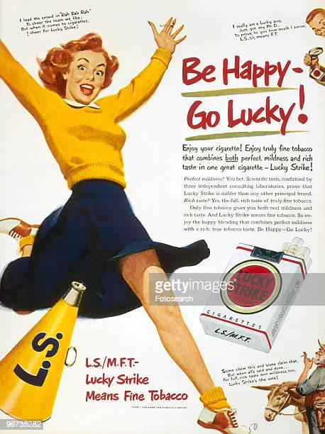 Advertisement for Lucky Strike Cigarettes circa 1940 Illustration of cheerleader with megaphone leaping with excitement and main text 'Be Happy Go...