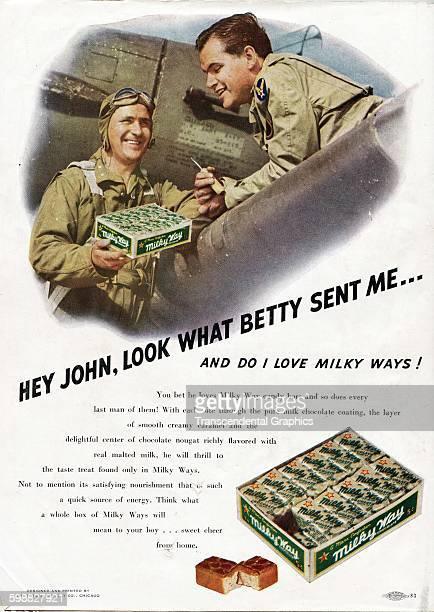 Advertisement for Milky Way candy bars features a World War II theme Chicago Illinois 1943