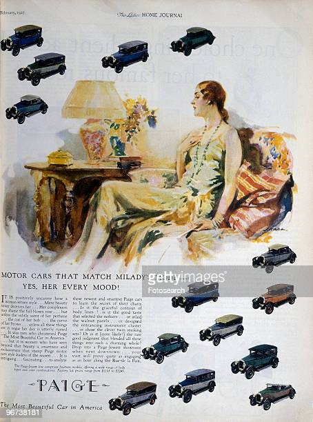 Advertisement for Paige Motor Cars February 1927 Page from Ladies Home Journal with illustration of smart woman sitting on sofa and model cars with...