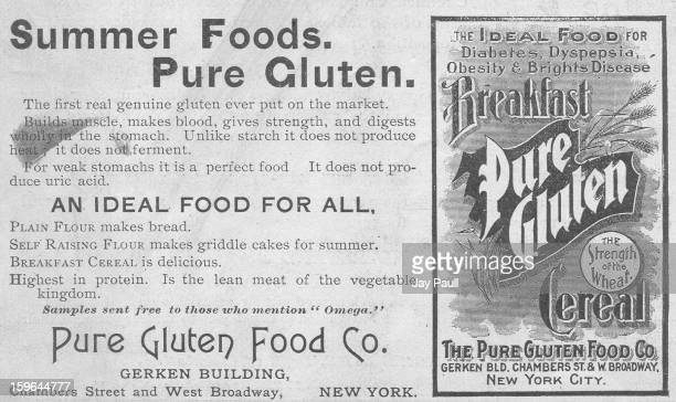 Advertisement for Pure Gluten Cereal by the Pure Gluten Food Company in New York New York 1900
