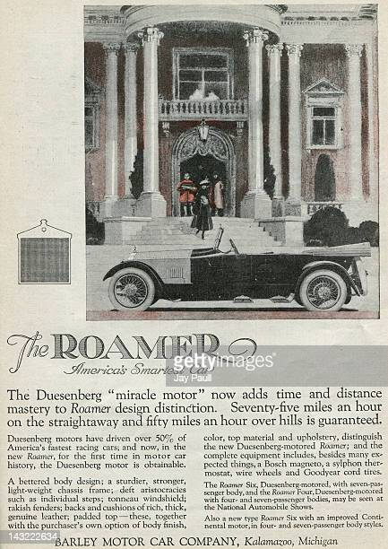 Advertisement for the Barley Motor Car Company of Kalamazoo Michigan The Roamer model which uses the Duesenberg 'miracle motor' is pictured 1918