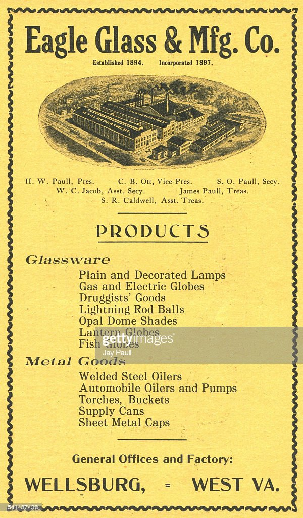 Advertisement for the Eagle Glass and Manufacturing Company producing lamps globes shades oil and gas cans pumps supply cans metal caps and other...