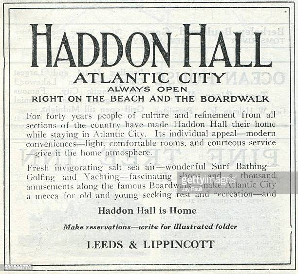Advertisement for the Haddon Hall hotel on the beach and boardwalk operated by Leeds and Lippincott Atlantic City New Jersey 1919