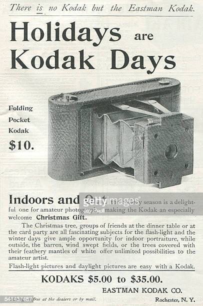 Advertisement for the Kodak folding pocket camera for Christmas by the Eastman Kodak Company in Rochester New York 1898