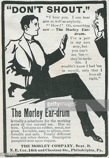 Advertisement for the Morley ear drum to remedy deafness by The Morley Company 1901