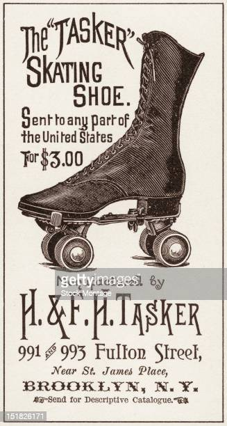 Advertisement for the 'Tasker' skating shoe manufactured by Brooklynbased H FTasker 1880s