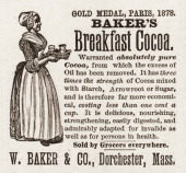 Advertisement for the W Baker Company's 'Breakfast Cocoa' 1888 Acconmpanied by an illustration a woman with a tray of cocoa the text reads in part...
