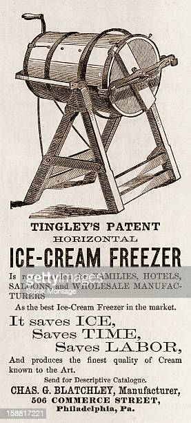 Advertisement for Tingley's Patent Horizontal IceCream Freezer 1872 Accompanied by an illustrations the text reads in part that the device is...
