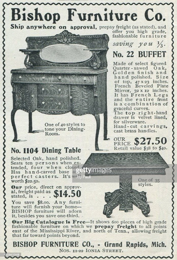 Advertisement For Various Furniture By The Bishop Furniture Company In  Grand Rapids Michigan 1902 A Buffet