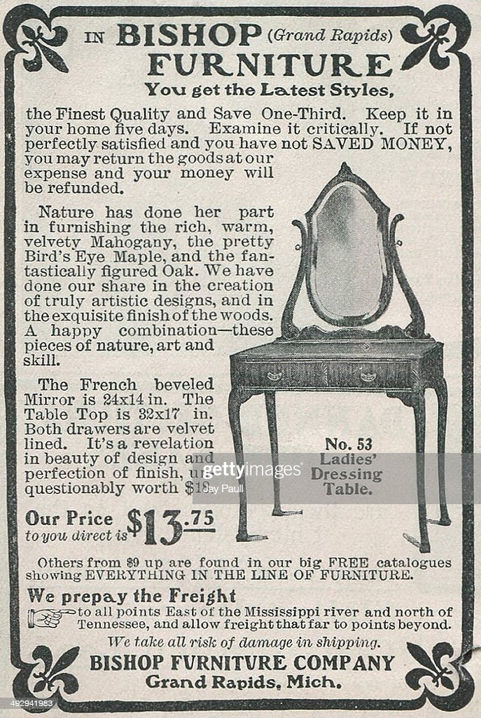 Advertisement For Various Furniture By The Bishop Furniture Company In  Grand Rapids Michigan 1901 A Ladies