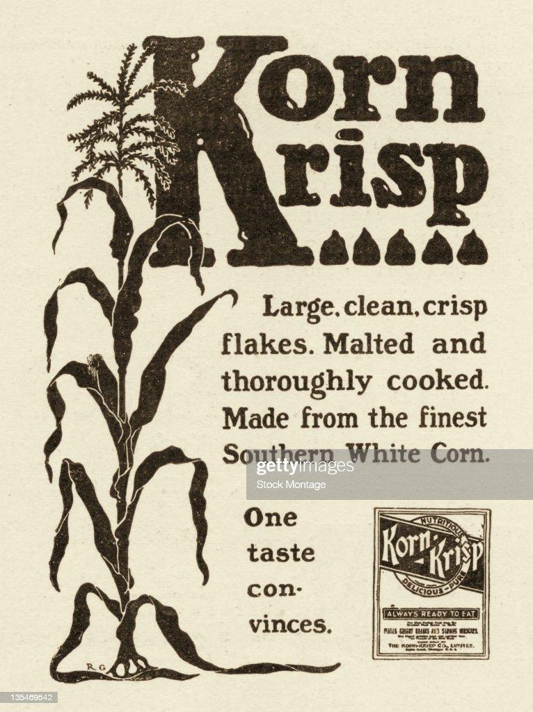 Advertisement from Harper's Weekly for KornKrisp breakfast cereal reads 'One taste convinces' 1903
