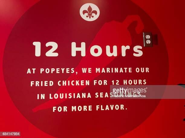 Advertisement of how Popeyes Louisiana Kitchen marinate their chicken