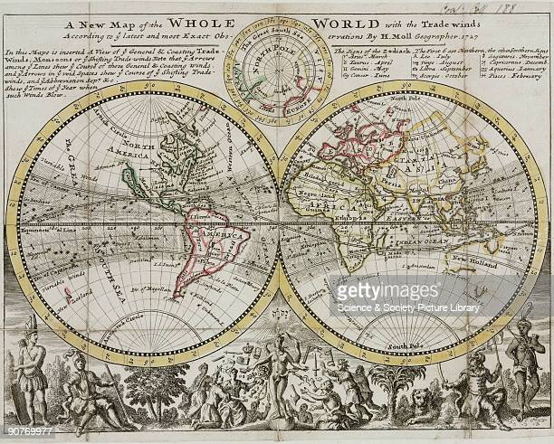 Advertising �A new map of the Whole World with trade winds according to the latest and most exact observations by H Moll geographer 1727� Beneath a...