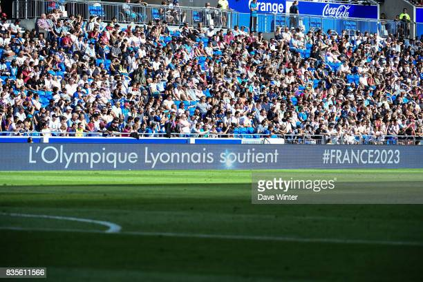 Advertising boards show Lyon's support for France's bid for the 2023 Rugby World Cup during the Ligue 1 match between Olympique Lyonnais and FC...