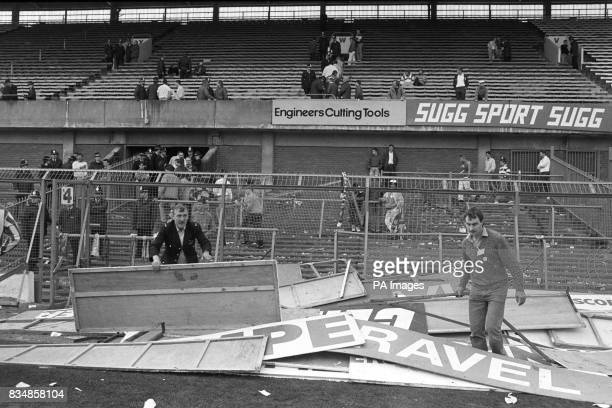 Advertising boards which were used as stretchers are piled up at Hillsborough in the aftermath of the tragedy More than 90 people died and 170...