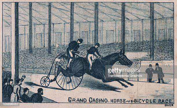 Advertising card promotes an upcoming race between a horse and a bicycle at the �Grand Casino� 1870