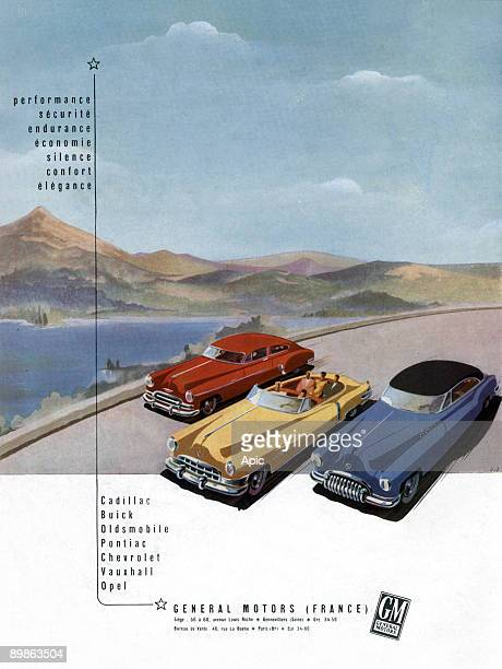 Advertising for cars Cadillac Buick Pontiac Oldsmobile Chevrolet and Opel Vauxhall General Motors 1950
