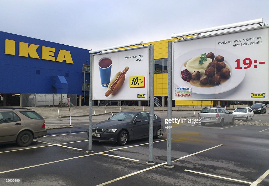 Advertising for IKEA meat balls is pictured at the parking at Ikea store in Malmo on February 25, 2012. Swedish furniture giant Ikea has withdrawn its company-branded meatballs from sale in Sweden after horsemeat was found in the product by Czech authorities, the company said Monday.