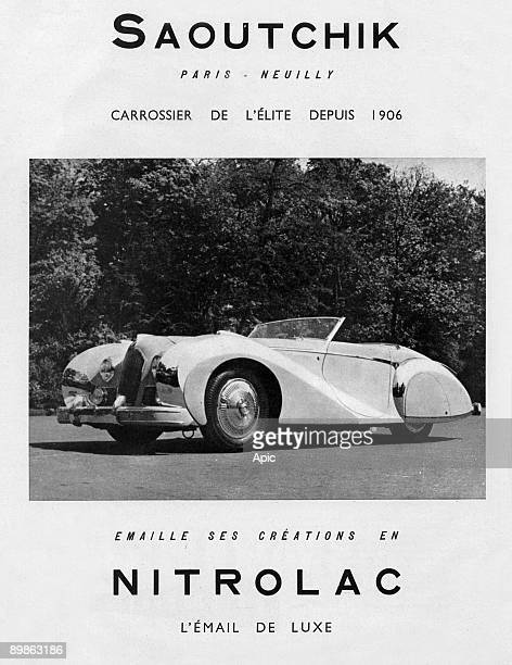 Advertising for the coach of the elite peppers its creations in Nitrolac email Saoutchik Deluxe 1950