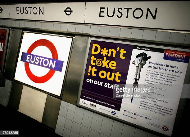 Advertising hordings at Euston Underground station on January 16 2007 in London England The cost of travelling around the British capital is now the...