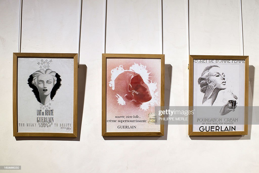 Advertising is displayed on February 7, 2013 at the Gadagne Museum in the central french city of Lyon. After Hong Kong, Lyon opened on February 7 an exhibition of more than 200 rare pieces of beauty and makeup products: from 17th century boxes of beauty spots and whitening powders to sophisticated contemporary blush boxes, reflecting the evolution of women's makeup. AFP PHOTO / PHILIPPE MERLE CAPTION