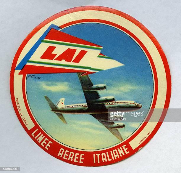 advertising label of the airline LAI Linee Aeree Italiane 50er Jahre