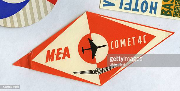 advertising label of the airlines MEA Comet 4C 50er Jahre