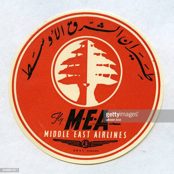 advertising label of the MEA Middle East Airlines 50er Jahre