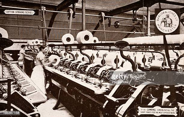 Advertising postcard produced by Barlow and Jones of Manchester featuring the combing process in their cotton mill circa 1920