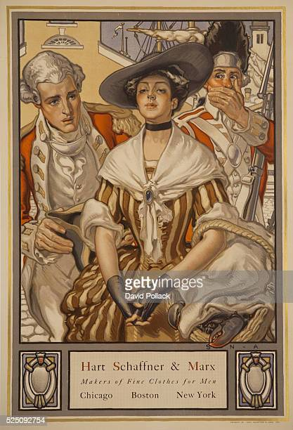 Advertising poster for American clothing company Hart Schaffner Marx well dressed couple in revolutionary period clothing