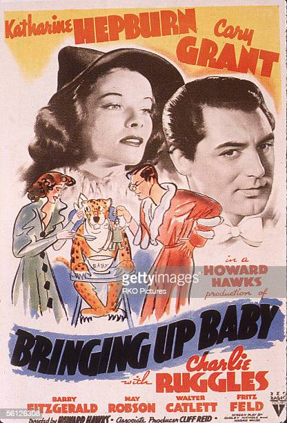 Advertising poster for the classic American comedy film 'Bringing Up Baby' starring Cary Grant and Katherine Hepburn directed by Howard Hawks 1938 In...