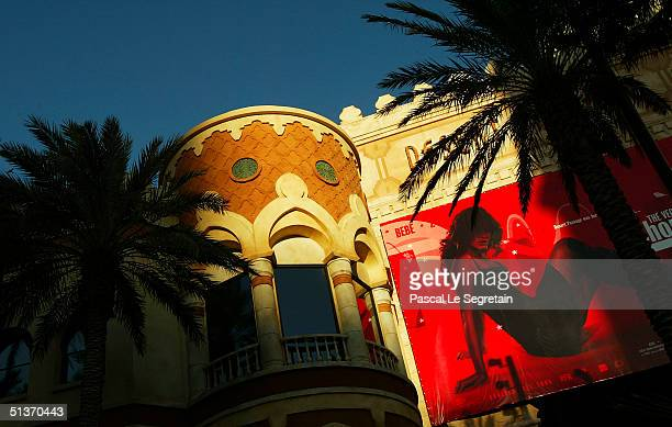 Advertising poster is seen on the facade of the Aladdin hotel on Las Vegas Boulevard September 17 in Las Vegas
