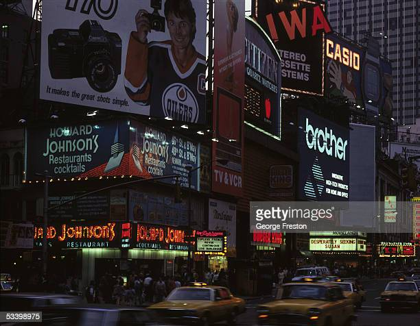 Advertising signs in Times Square New York circa 1980