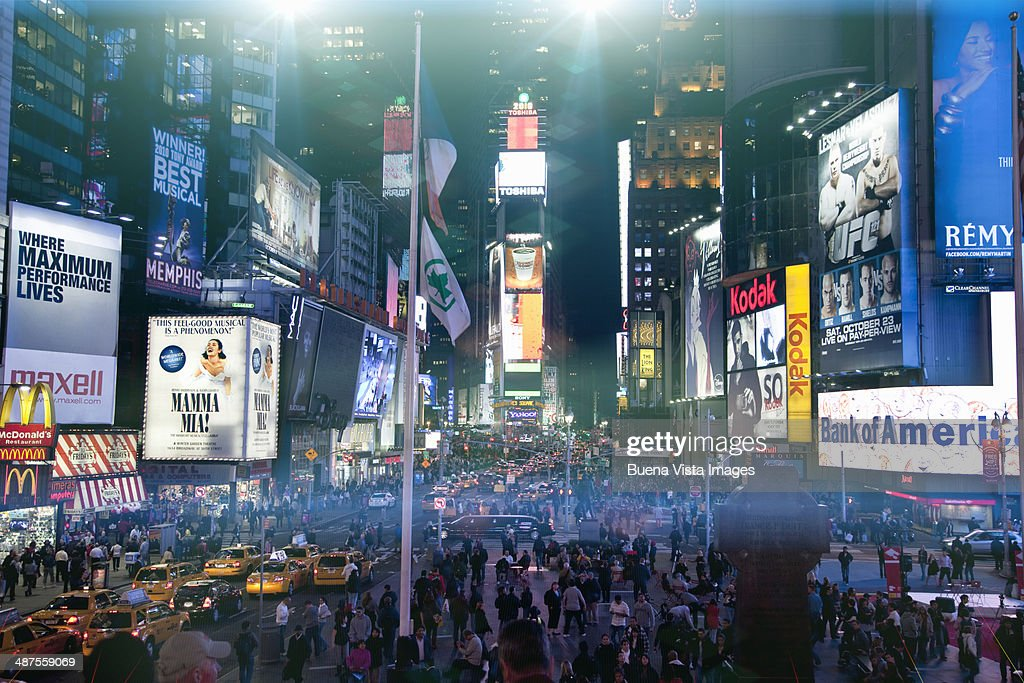 Advertising signs in Times Square : Stock Photo