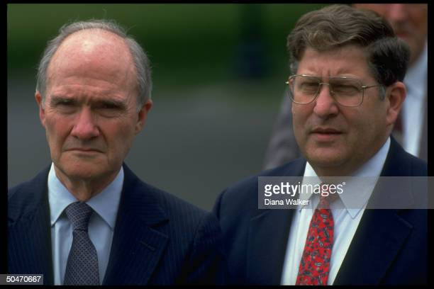 NSC Adviser Brent Scowcroft WH Chief of Staff John Sununu poised on WH lawn