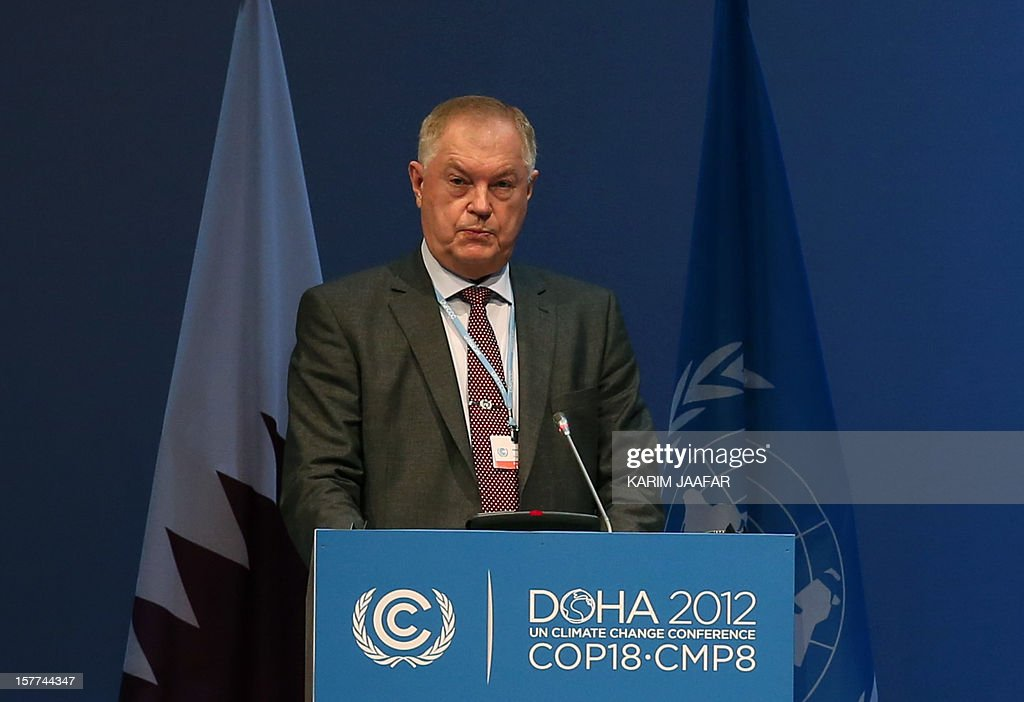 Adviser to the President of the Russian Federation and Special Envoy for Climate Alexander Bedritsky, addresses delegates during the penultimate day of the United Nations Framework Convention on Climate Change (UNFCCC) in the Qatari capital Doha, on December 6, 2012. Negotiators from nearly 200 countries entered the penultimate day of UN climate talks in Doha divided on near-term finance for poor nations' global warming mitigation plans.