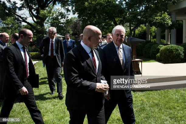 Advisor Stephen Miller National Security Advisor H R McMaster and US Secretary of State Rex W Tillerson leave after US President Donald Trump and...