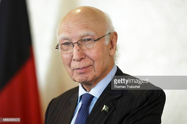 Advisor to Pakistani Prime Minister on Foreign Affairs Sartaj Aziz on August 31 2015 in Islamabad Pakistan