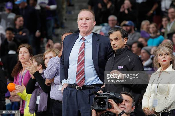 Advisor to the Chairman Chris Mullin and owner Vivek Ranadivé of the Sacramento Kings watch their team face off against the Dallas Mavericks on...