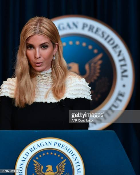 Advisor to US President Donald Trump his daughter Ivanka Trump speaks at a fireside chat on tax reform with at the Ronald Reagan Presidential Library...