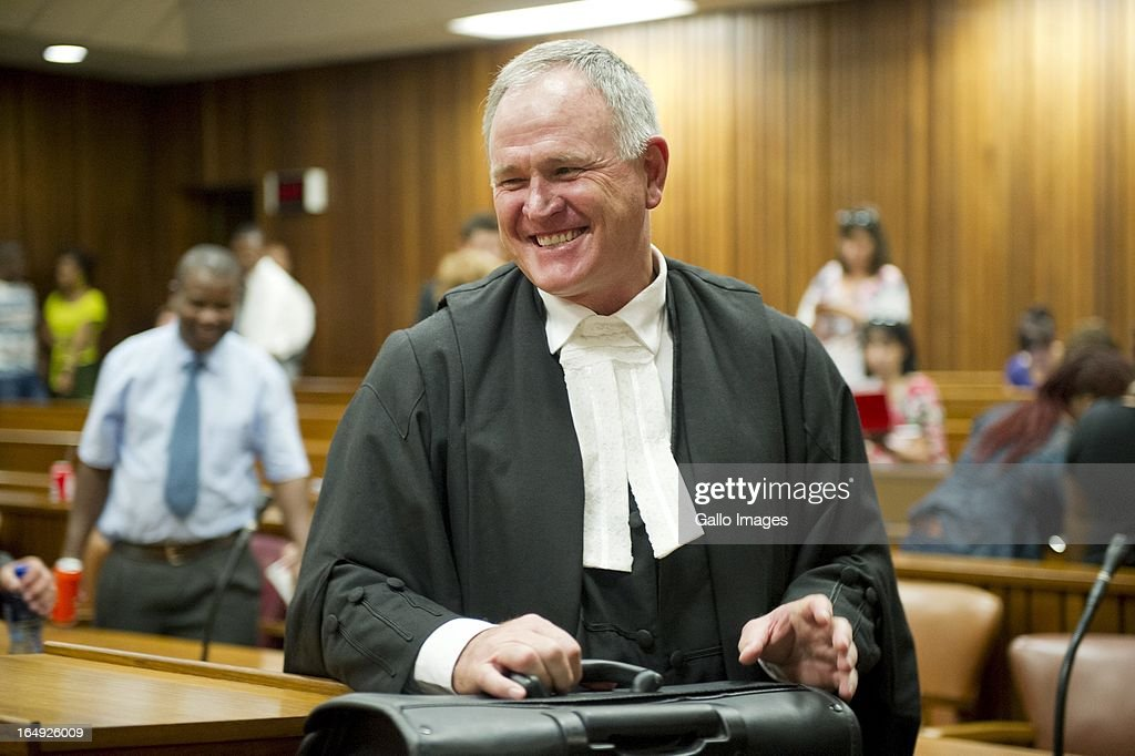 Advocate Barry Roux during Oscar Pistorius' bail hearing at Pretoria Magistrates Court on March 28, 2013, in Pretoria, South Africa. Oscar Pistorius, who stands accused of shooting Reeva Steenkamp on February 14, 2013, has succesfully appealed his bail conditions, which included travel restrictions.